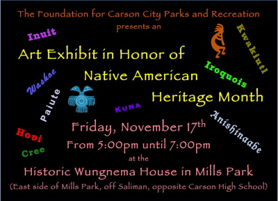 Flyer for Nov. 17 open house and exhibit at Wungnema House.